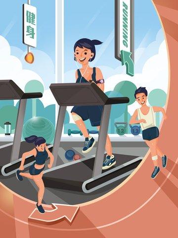 chạy thể thao thể dục cô gái Hình minh họa
