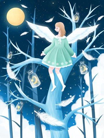 sleep good night night starry sky Material de ilustração