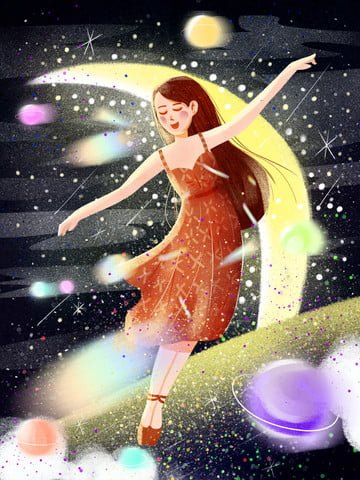 small fresh dancing starry sky girl ภาพ