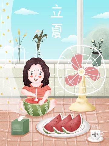 Small fresh summer solar terms festive festival llustration image