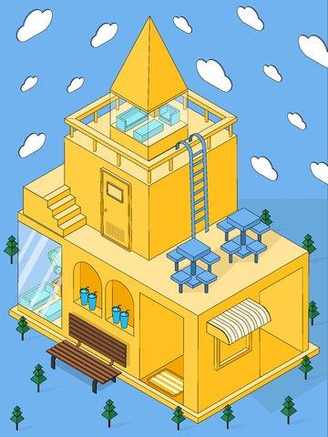 small fresh taobao house illustration Ресурсы иллюстрации