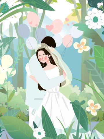 small fresh wedding scene married couple llustration image