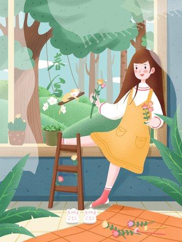 ฤดูใบไม้ผลิฤดูใบไม้ผลิชีวิตสาวบ้านฤดูใบไม้ผลิ ภาพ ภาพภาพประกอบ