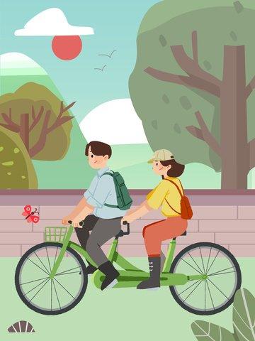 spring equinox二十四節氣小清新春遊 插畫素材 插畫圖片