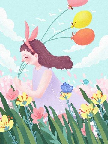 spring flowers girls flowers Material de ilustração