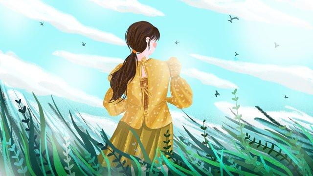 春 草 緑 日差し イラスト素材 イラスト画像