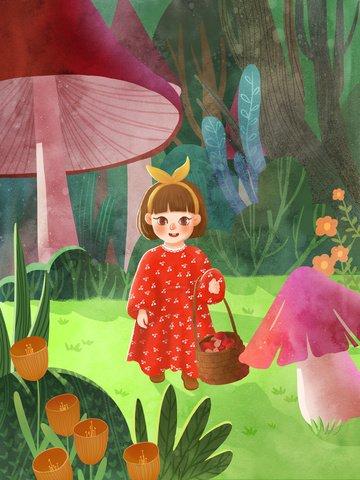 spring hello girl forest Material de ilustração
