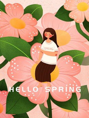 spring hello spring hello girl ภาพ