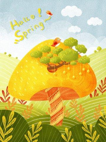 spring mushroom green illustration small fresh illustration Ресурсы иллюстрации