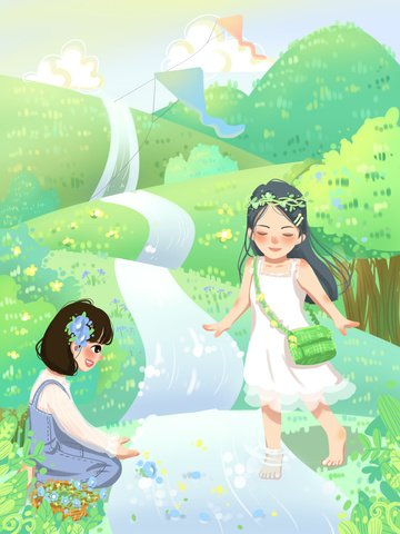 spring small fresh girl play Ресурсы иллюстрации