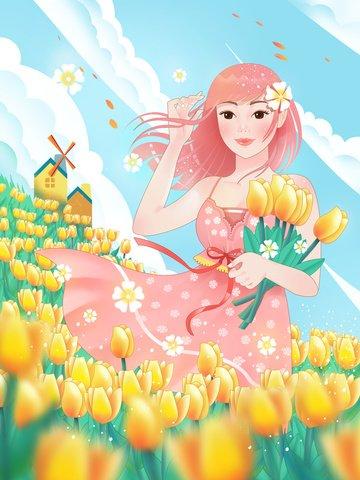 spring tulip flower illustration Material de ilustração
