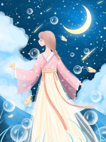 滿天星斗的夢想月亮流星 插畫素材 插畫圖片