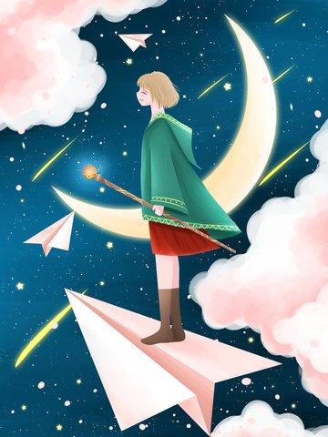 滿天星斗的天空夢幻般的新鮮女孩 插畫素材 插畫圖片