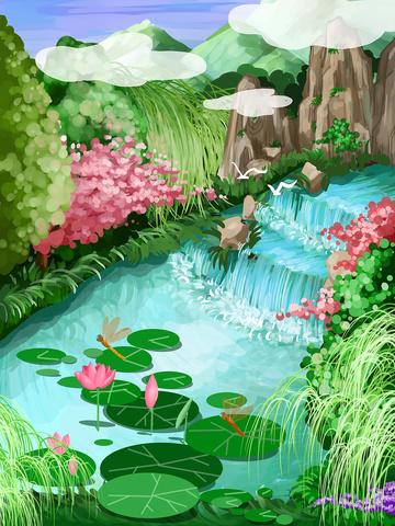 唐の詩と宋の詩 子供のイラスト xiaochi 蜻蜓 イラスト素材