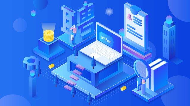 technology recruitment blue 2 5d Ресурсы иллюстрации