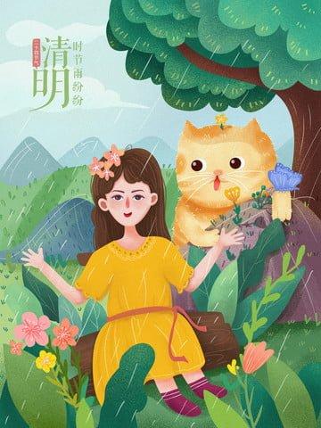 twenty four solar terms clear rain cats Imagens de ilustração