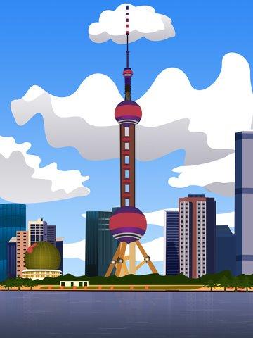 vector minh họa kiến trúc gradient shanghai Hình minh họa