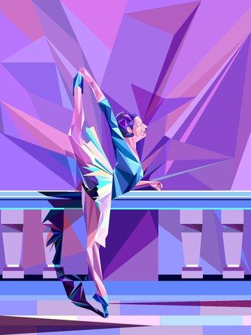 ベクトルイラスト ウォーターチェストグラデーション 女の子 バレエダンサー イラスト素材 イラスト画像