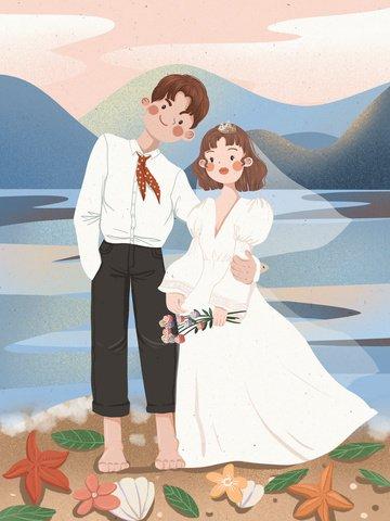 溫馨 浪漫 海邊 夕陽 插畫圖片
