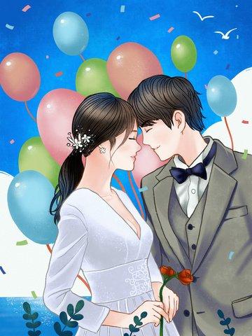 warm romantic wedding scene Ресурсы иллюстрации