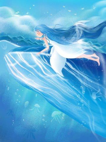 व्हेल लड़की नीला महासागर चित्रण छवि