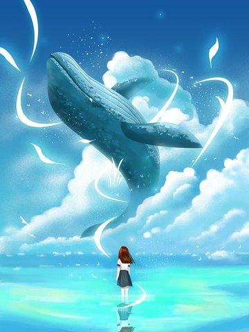 クジラの少女は小さな新鮮を治す イラスト素材