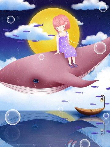 Whale Cloud, Cloud, Dream, Healing Illustration Image on