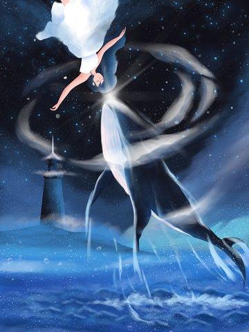 व्हेल व्हेल लड़की ब्लू चित्रण छवि