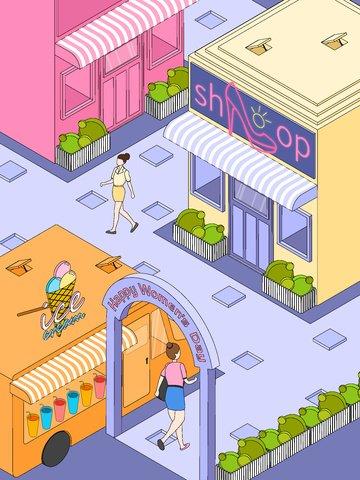 ngày phụ nữ phố thương mại cửa hàng xe tải thực phẩm Hình minh họa Hình minh họa