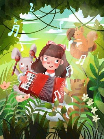 世界の子供の日 フォレスト アコーディオン 歌う イラスト素材 イラスト画像