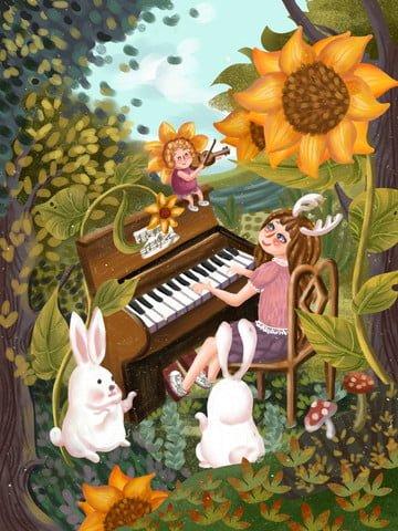 世界こどもの日 ひまわり 女の子 ピアノを弾く イラスト素材