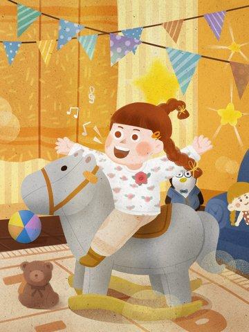 世界の子供たちの歌の日 トロイの木馬をしている子供たち 幸せ 子供部屋 イラスト素材 イラスト画像