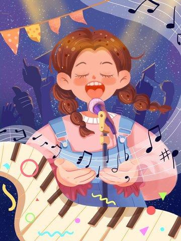 世界の子供たちの歌の日 かわいい 女の子 歌 イラストレーション画像