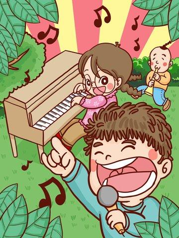 世界 子供の歌の日 歌の日 子供 イラスト画像