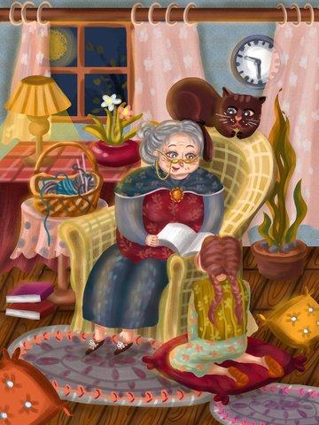 世界幸福の日 老人 女の子 読書 イラスト素材