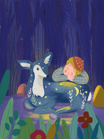 world sleep good night small fresh illustration deer llustration image