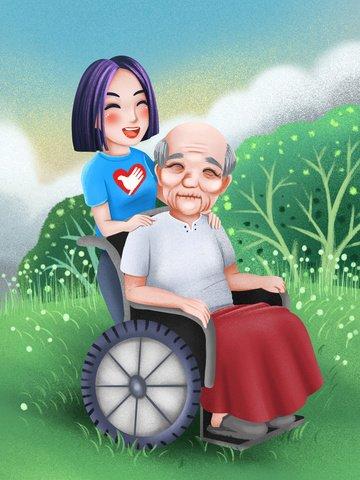 若い女性のボランティア、高齢者の世話をする女の子 イラスト素材