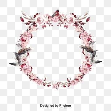 วงกลม ดอกไม้ ดอกเล็กๆ สีชมพู นกล้อมรอบ จับ สีน้ำตานวงกลม  ดอกไม้  ดอกเล็กๆ PNG และ PSD