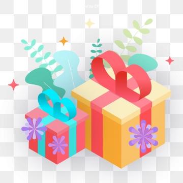 กล่องของขวัญ สองกล่องลายดอกไม้ สีม่วง สีส้ม สีเหลืองกล่องของขวัญ  สองกล่องลายดอกไม้  สีม่วง PNG และ PSD