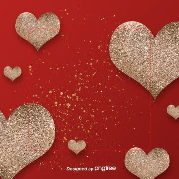 the  red valentines day heart background, Cute, Gold, Valentines Day PNG and PSD