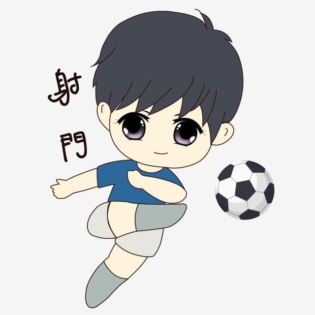 Cartoon Hand Drawn Emoticon Package Kick The Ball Shot