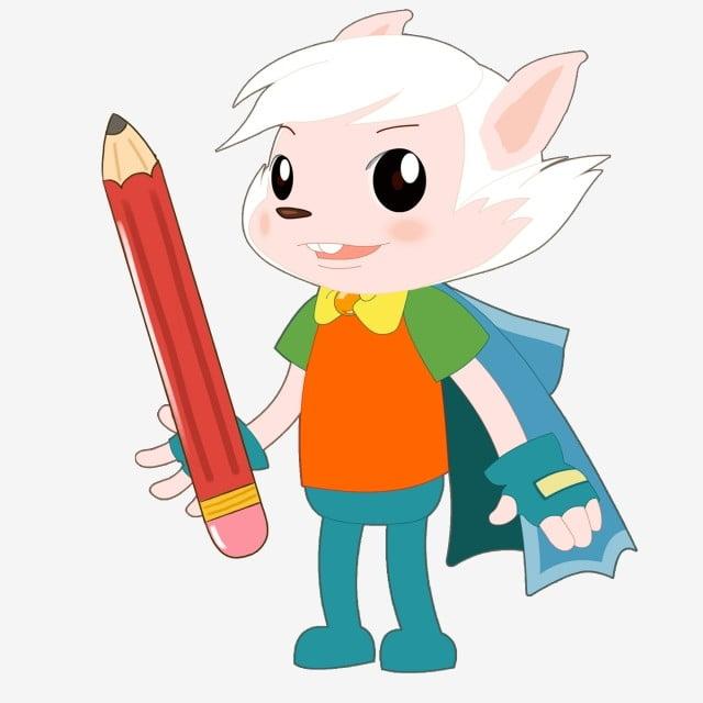 Lindo Elfo Pequeño Príncipe Con Lápiz De Imagen De Dibujos Animados