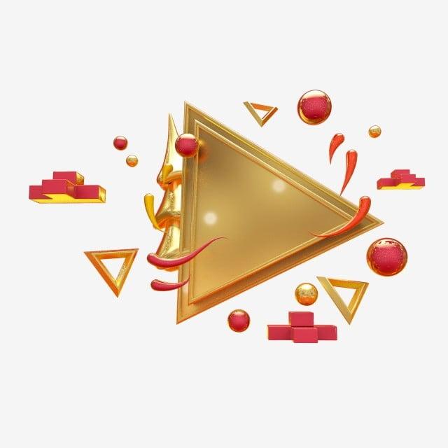 Gold Triangular Plate Square Decorative Drawing, C4d, Three