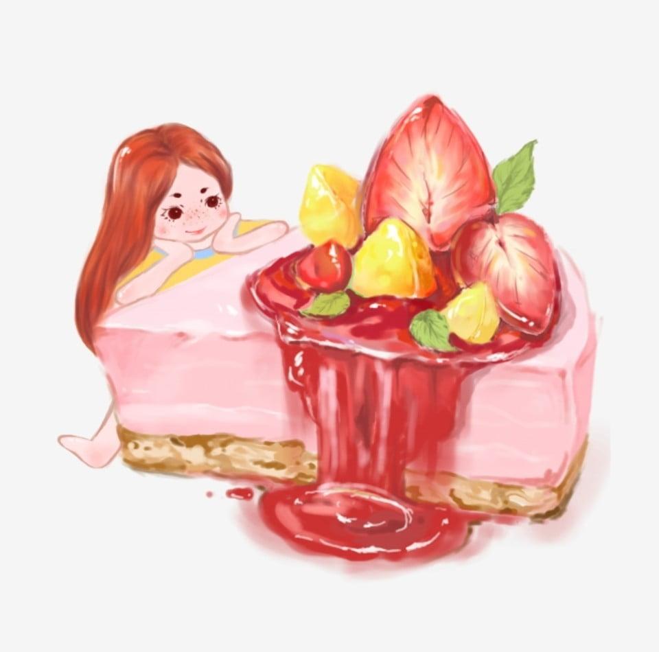 Ilustracion De Tema De Dibujos Animados Chica Gourmet Y Lindo Tarta