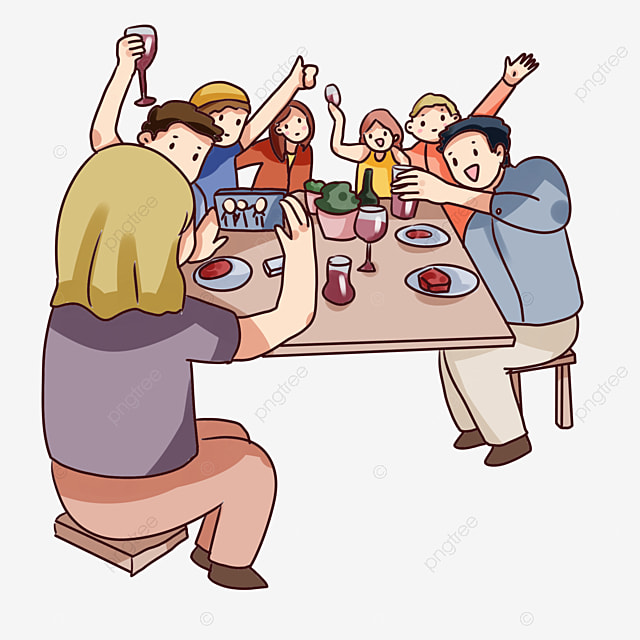 Hand Drawn Cartoon Friends Gathering Scenes Colleagues Gathering