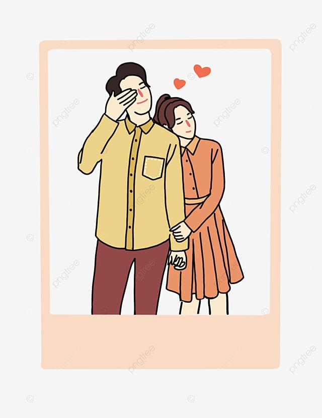 Pasangan Lukisan Pasangan Gambar Kecil Pasangan Yang Ditarik Kartun