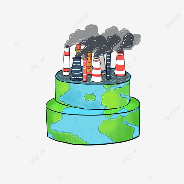Dibujado A Mano Dibujos Animados De La Tierra Chimenea Contaminacion