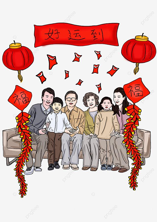 手描き家族の再会漫画イラスト赤い封筒 手描き家族の再会漫画イラスト
