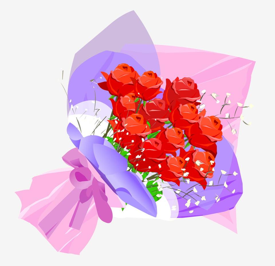Tangan Dicat Kreatif Naik Buket Bunga Yang Dilukis Dengan Tangan Kartun Bunga Bunga Merah Png Transparan Gambar Clipart Dan File Psd Untuk Unduh Gratis
