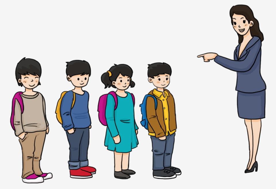 แถวของนักเรียนครูและนักเรียนนักเรียนกับกระเป๋าเป้นักเรียน ...